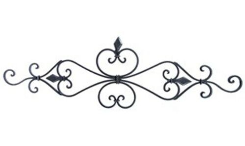 Add texture visual to wall Black Metal Wall Pediment with Fleur-De-Lis on Top
