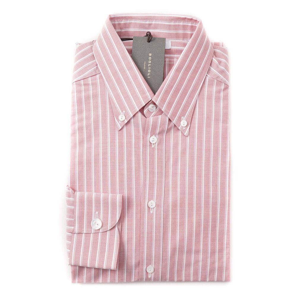 NWT  BOGLIOLI Slim-Fit Pink and White Stripe Oxford Cotton Shirt 15 x 35