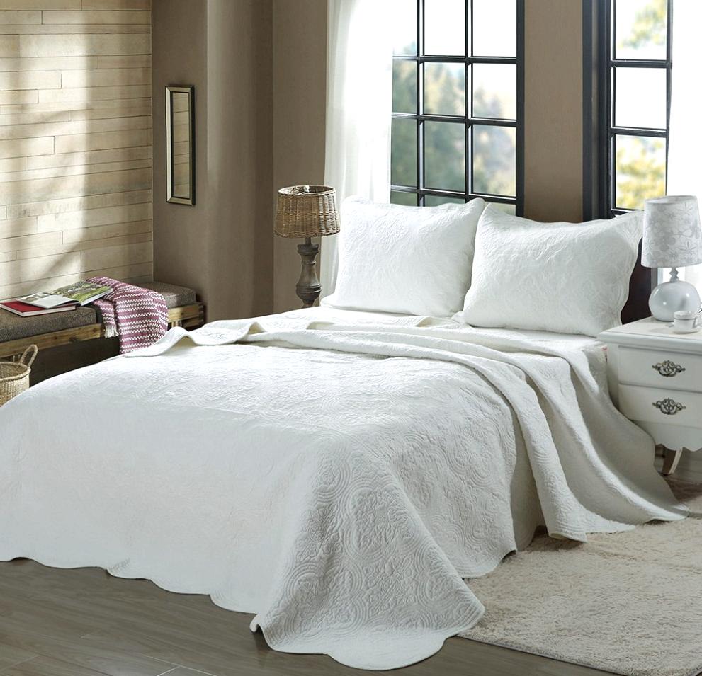 Mael Weiß Scalloped Edge Reversible Cotton Quilt Set, Bettspreads, Startseitelet