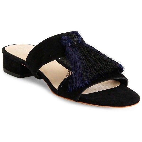 Loeffler Randall Rubie Black Suede Tassel Slide Sandals Heels Size 10 New  245