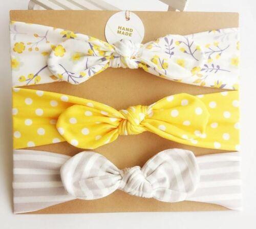 Haarband Kopfband Baby Stirnband Mädchen 3 er Set weiß beige gelb gestreift
