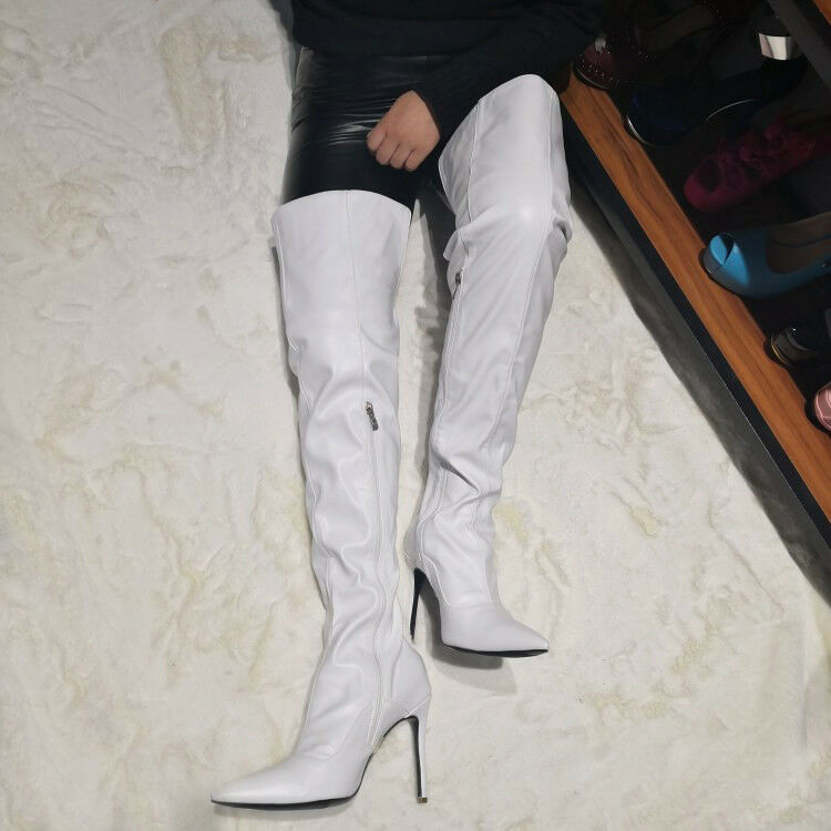 TRENDY Women Over the Knee Boots Slim High High High Heels White shoes Women Big Size 4-15 01de49