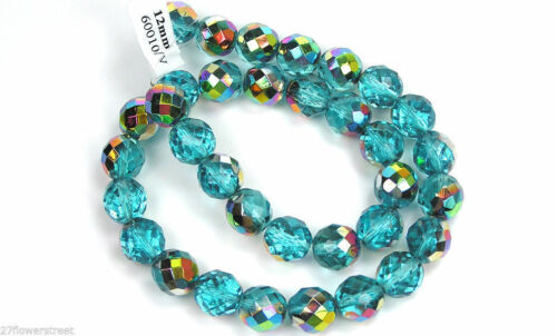 """Czech Glass Fire Polished Round Faceted Beads blue Aqua Vitrail coated 16/""""strand"""