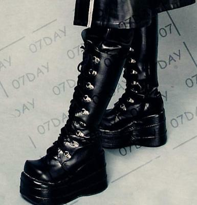 Womens Punk Lace Up Knee High Platform Gothic Military Boots Shoes Plus Size