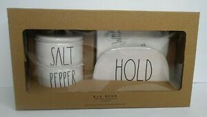 Rae Dunn Salt & Pepper Cellars/Napkin Holder & Yum Napkins Farmhouse Gift Set