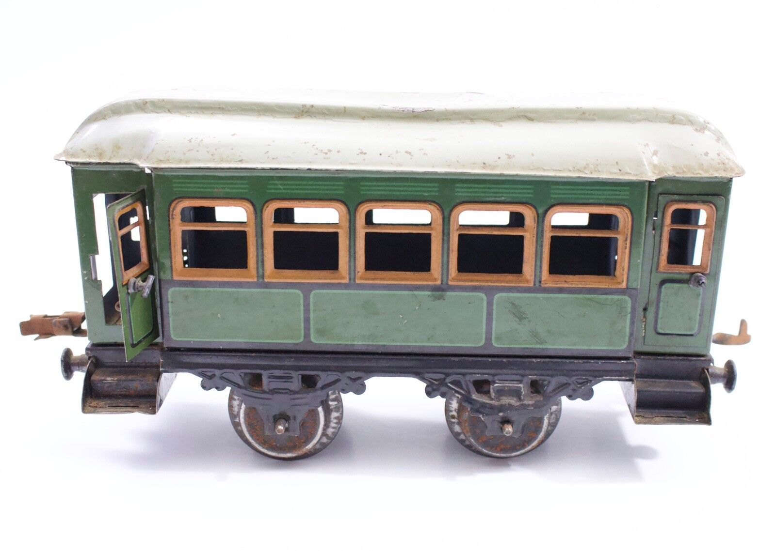 Early German Marklin or Bing Gauge 1 Grün Passenger Car 4 Wheel w  Doors  2