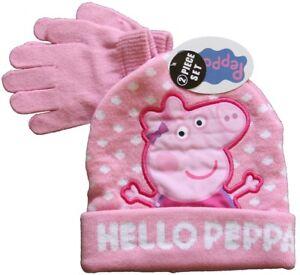 a9c248e509b63 New Peppa Pig Hello Peppa Knitted Beanie   Glove 2 Piece Set Pink ...