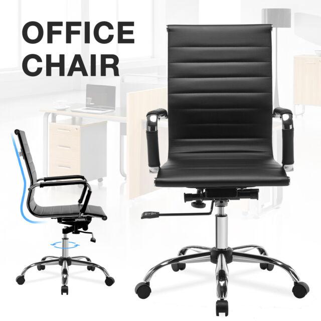 Surprising Black Pu Leather Office Chair Lumbar Support Ergonomic Task Computer Desk Download Free Architecture Designs Grimeyleaguecom