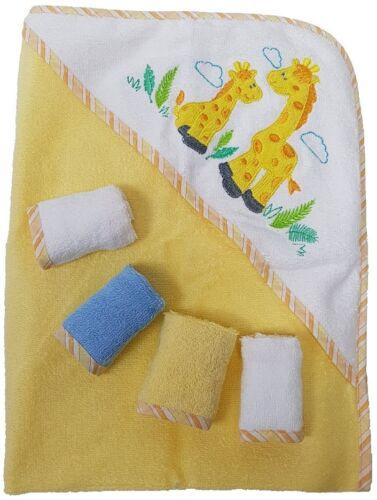 Baby Kapuzenbadetuch + 4st. Wischtücher 100% Baumwolle Geschenkset 5 teilig Gelb