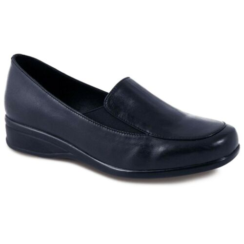 Women/'s Comfy Wide Fitting Small Wedge Ladies Black Pewter Leather Shoes