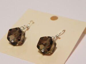 Smoky-quartz-sterling-silver-gemstone-drop-earrings
