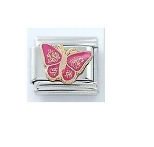 9mm-Classic-Size-Italian-Charm-For-Modular-Bracelets-Pink-Butterfly