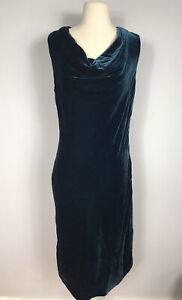 J. Peterman Dark Green Silk Blend Velvet and Lace Cocktail Dress Women's 10
