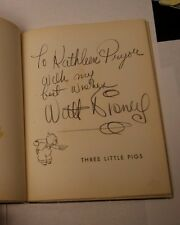 RARE WALT DISNEY SIGNED / THREE LITTLE PIGS 1933  FIRST EDITION AUTOGRAPH