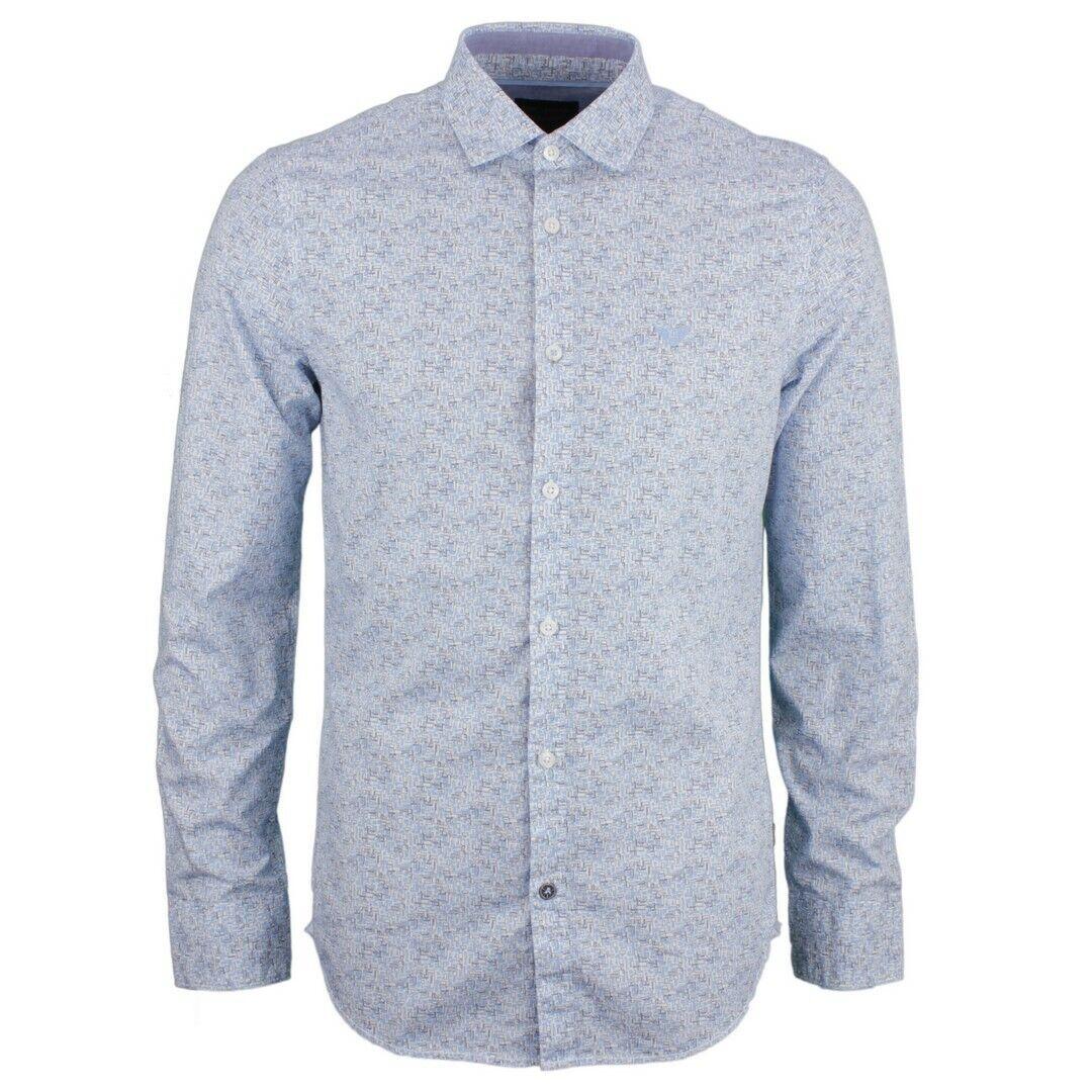 PME LEGEND tempo libero Camicia Blu Bianco minimo motivo psi192203 7003