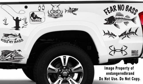 Fishing Bone Skeleton Look Left Fear No Bass Decal Sticker