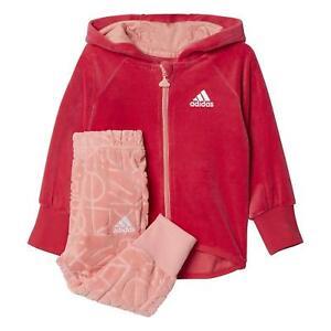 Adidas-Nina-Rosa-amp-Melocoton-Terciopelo-Suave-Chandal-con-Cremallera-Juego-Edad