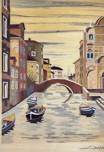 Tableau-marqueterie-vue-de-Venise-Ciamarone-artiste-Reference-Artprice