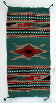 """Throw Rug Tapestry Southwestern Thick Hand Woven Wool 20x40/""""   #214"""