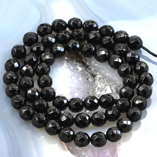 """Wholesale Natural Black Onyx Faceted Round Spacer Loose Beads 15/"""" 3 4 6 8 10mm"""