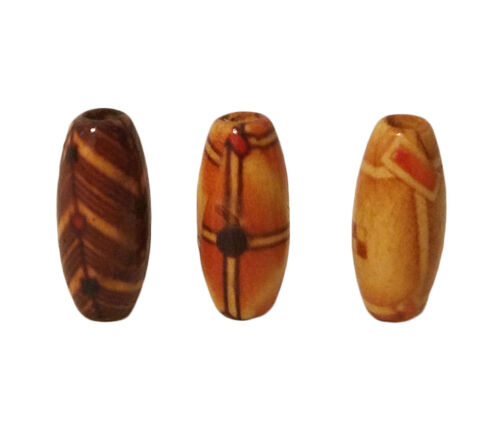 100 Small 17mm Oval Ethnic Pattern Print Wood Micro Macrame Craft Jewelry Beads