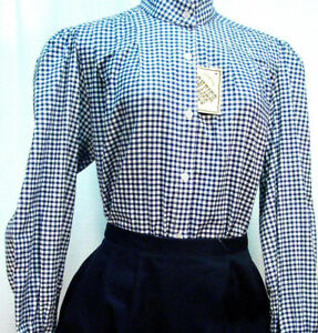 Victorian-Vintage-Pioneer-Style-Blue-Check-Blouse-Frontier-Classics-Old-West