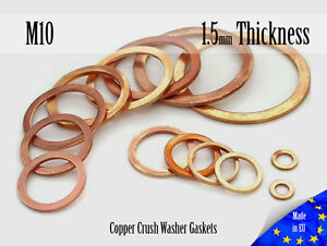 M10-Thick-1-5mm-Metric-Copper-Flat-Ring-Oil-Drain-Plug-Crush-Washer-Gaskets