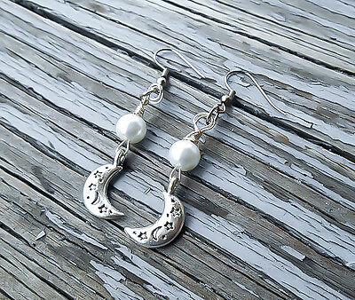 Silver Wire wrapped Crescent Moon and pearl dangle earrings Elven Earrings