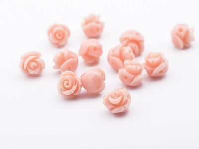 20pcs Resin 8mm Retro Rose Flower Charms Carved Loose Spacer Beads Flesh Pink