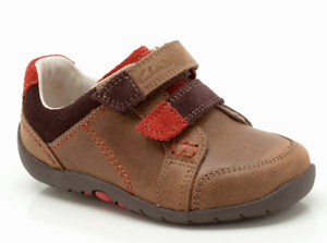 Clarks Infant Kids UK 3 E to H Fit Brown Leather Softly Lo Riptape First Shoes