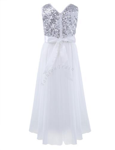 Mädchen Festlich Kleid Hochzeit Festkleider mit Pailletten für Kinder Prinzessin