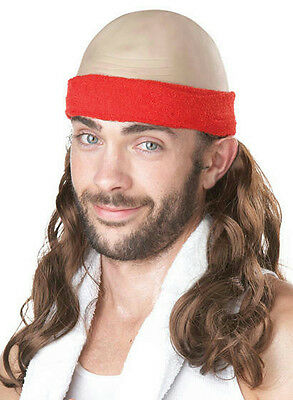Low Impact Mens Funny Balding 80s Exercise Video Adult Costume Wig
