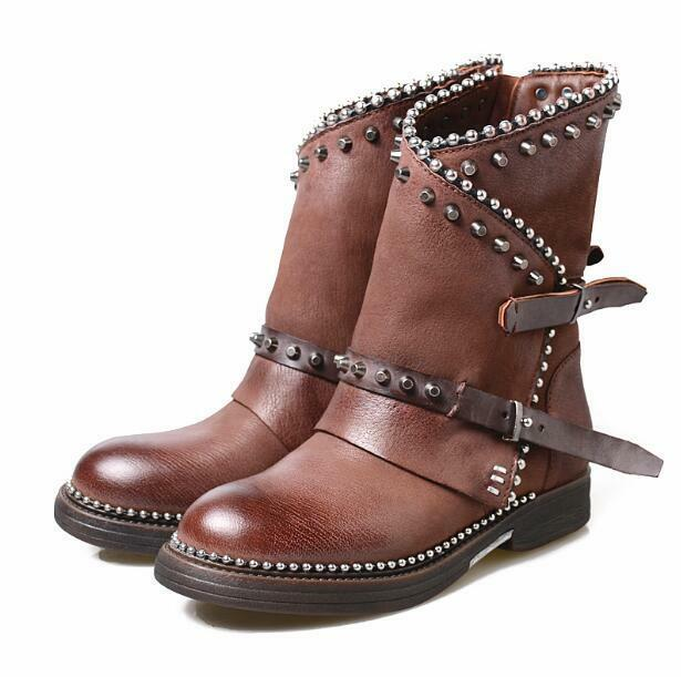 Occident Retro Womens Punk Rivet Round Toe Chunky Heel Leather Riding Boots Size