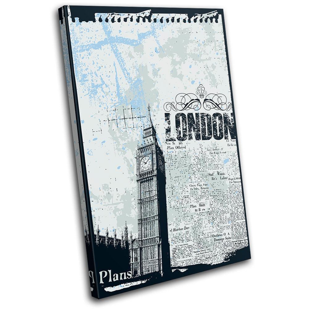 London Collage Grunge Illustration Big Ben Canvas Art Picture Print Decorative