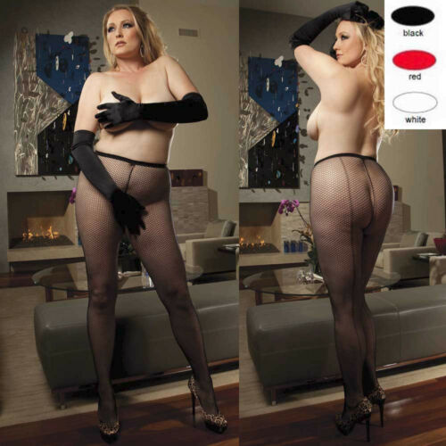 Retro Plus Size Lingerie Queen Black Red or White Fishnet Backseam Pantyhose