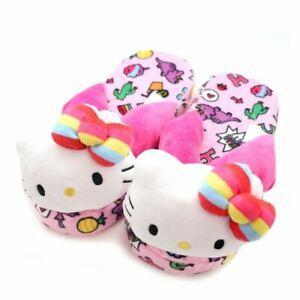 Hello Kitty Plush Slippers: Rainbow Dinosaurs Sanrio Japan Kid Size