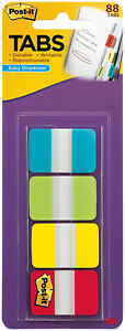 3M-Post-It-Tabs-1-034-x-1-5-034-Writable-Repositionable-4-Primary-Colors-88pk