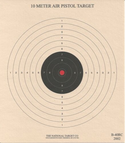 B-40 [B-32] 10 Meter Air Pistol Target w/ Red Center, 7 x 8, on Tagboard (100)