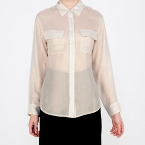 NWT-EQUIPMENT-PARIS-Pale-Gold-Shimmer-100-Cotton-Sheer-Shirt-Blouse-Size-S-278
