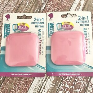"""TRIM 2-in-1 Compact 2X/1X Magnification Double Pink Mirrors 2.5"""" x 2.5"""" Lot of 2"""