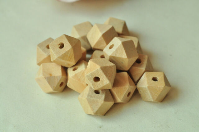 20pcs 12mm Geometric Wood Bead Unpainted Natural Wooden Necklace Craft Faceted
