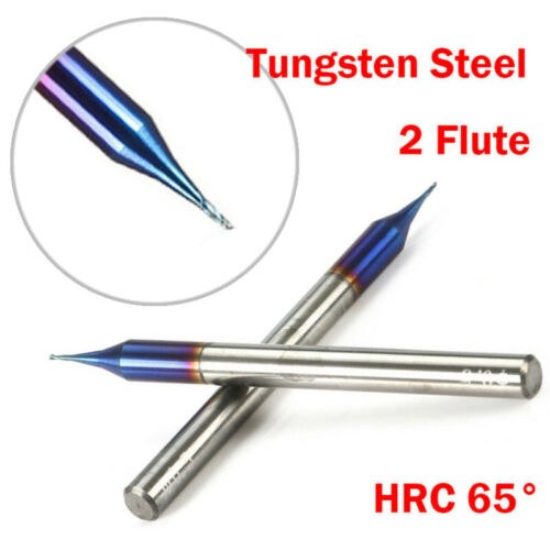 0.5MM Micro End Mill HRC65 2 Flutes Tungsten Carbide Flat Milling Cutter Durable