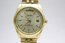 Elgin Mens Gold Tone Day Date Dress Watch FC400B