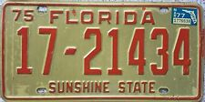 FREE UK POSTAGE 1975 FLORIDA American USA License Number Plate SUNSHINE STATE