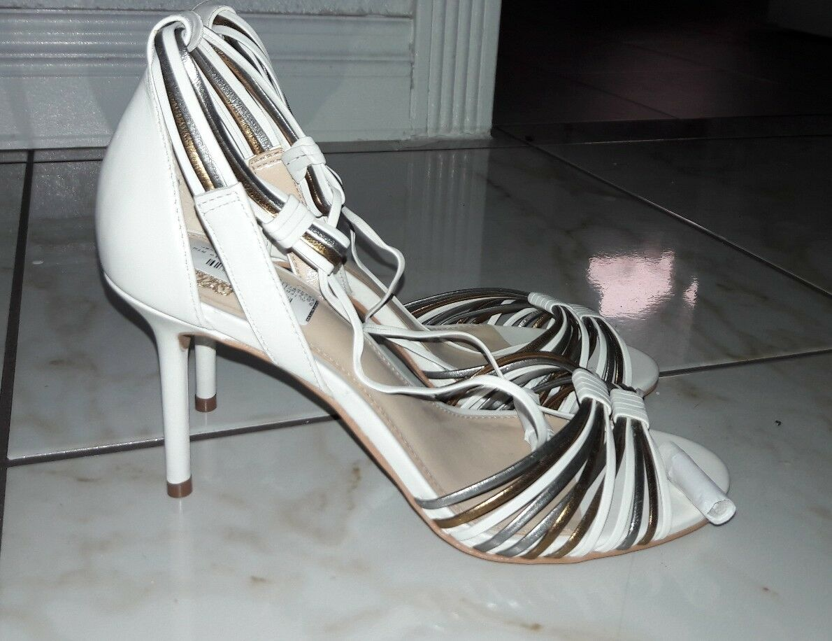 VINCE CAMUTO stellima  White White White gold strappy Open Toe Heel Sandal shoes Sz 9M 7c4b56
