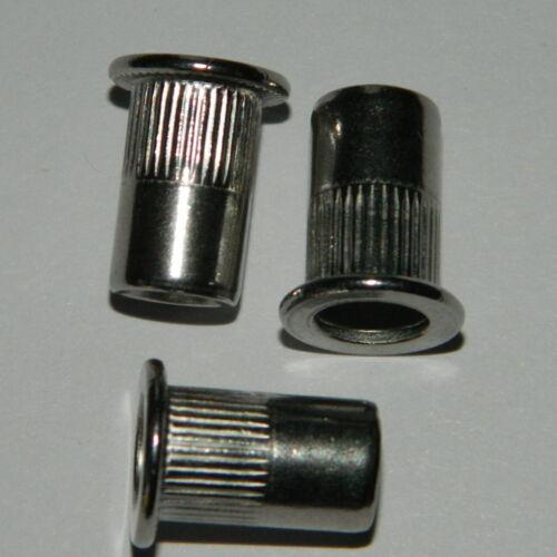 100 Stk 3,1-6mm Nietmutter Edelstahl A2 Blindnietmuttern M10 Flachkopf ger