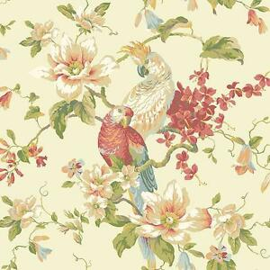 Wallpaper-Designer-Parrot-amp-Cockatoo-Tropical-Magnolia-Floral-on-Pearlized-Beige