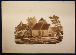 """Kattuschafke junior Federzeichnung auf Karton """"Dorfidylle mit Teich"""" um 1830 sf"""