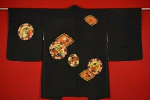 Vintage-Japanese-Kimono-Silk-Antique-BORO-Black-HAORI-Kusakizome-Dyed-YQ08-610
