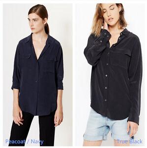 New-Authentic-Equipment-Signature-Silk-Blouse-Peacoat-Black
